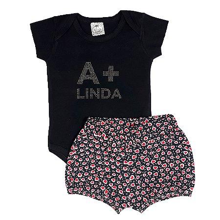 Conjunto Bebê Body A + Linda Preto Com Shorts Coração