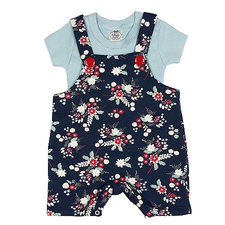 Jardineira Bebê Floral + Básica Azul