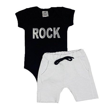 Conjunto Bebê Body Rock + Bermuda Branca