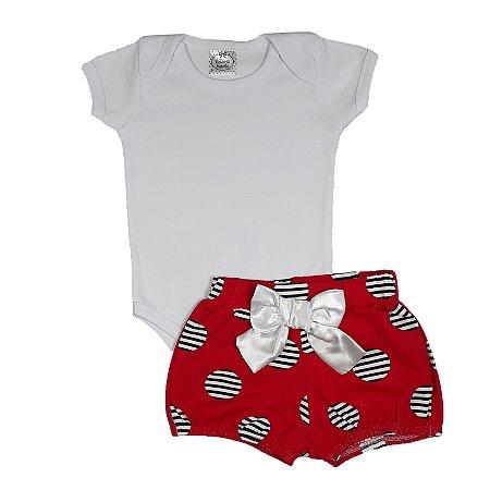 Conjunto Bebê Body Branco + Shorts Bola Vermelho