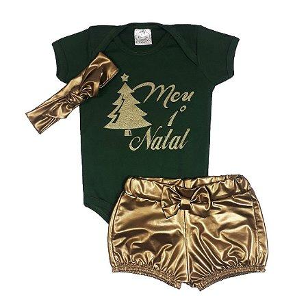 Conjunto Bebê Meu 1° Natal Verde