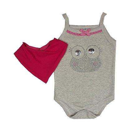 Body Bebê Sapo Cinza + Bandana