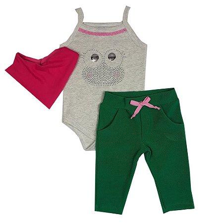 Conjunto Bebê Body Sapo + Calça + Bandana Pink