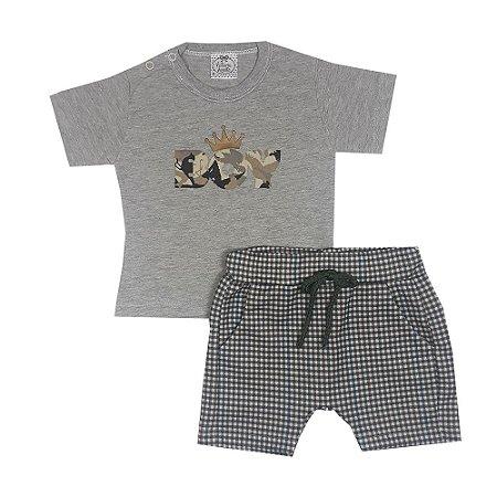 Conjunto Bebê Camiseta Boy + Bermuda Xadrez