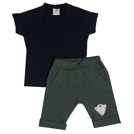 Conjunto Infantil Camiseta Preta + Bermuda Saruel Verde
