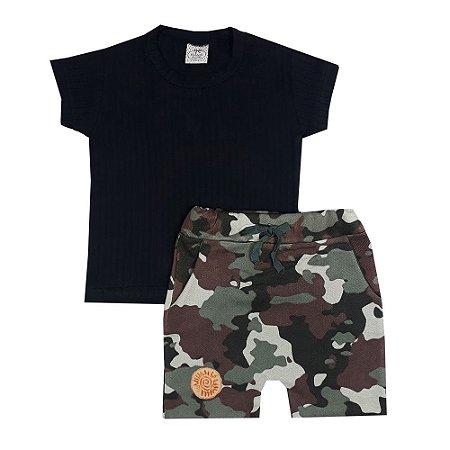 Conjunto Infantil Camiseta Preta + Bermuda Camuflada