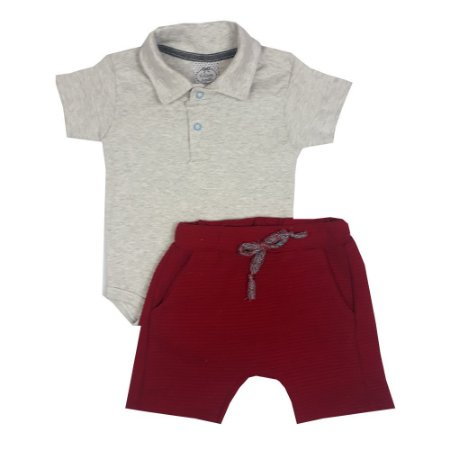 Conjunto Bebê Body Polo + Bermuda Saruel Vermelha