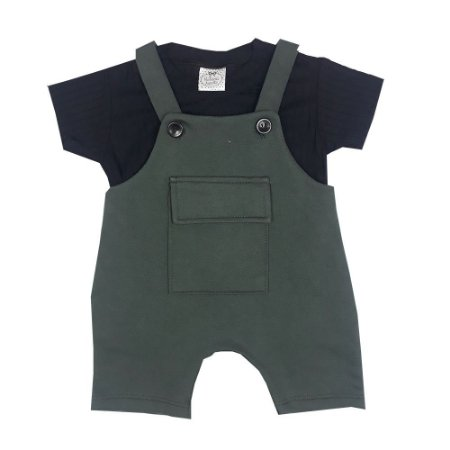 Jardineira Bebê Verde + Básica Preta