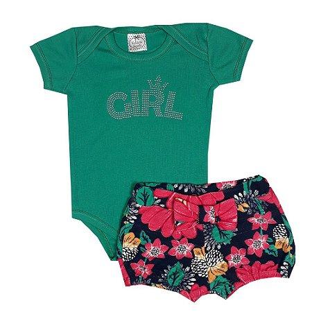 Conjunto Bebê Body Girl Verde + Shorts Floral