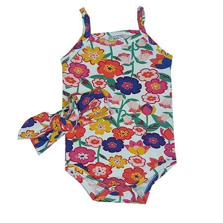 Body Bebê Floral + Turbante Floral