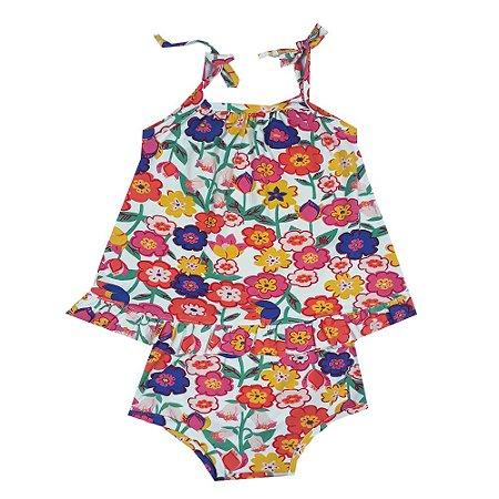 Vestido Bebê + Calcinha Floral