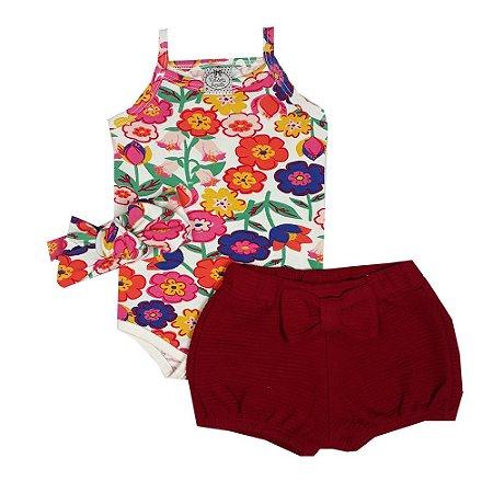 Conjunto Bebê Body Floral + SHorts Vermelho + Turbante Floral