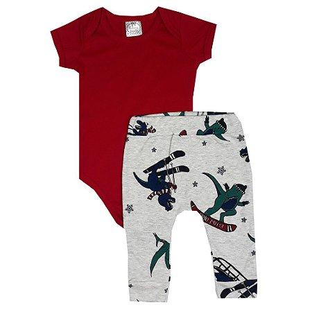 Conjunto Bebê Body Vermelho + Calça Ski