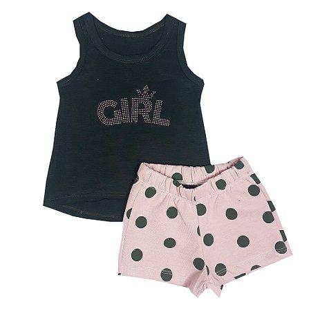 Conjunto Infantil Regata Girl + Shorts Bola