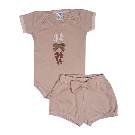 Conjunto Bebê Laços Rosa