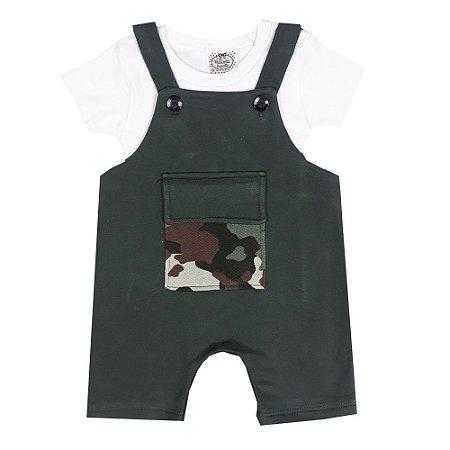 Jardineira Bebê Verde Com Bolso Camuflado + Básica Branca
