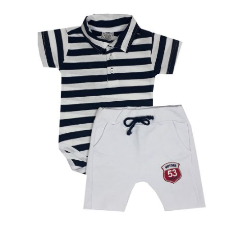Conjunto Bebê Polo Listrado + Bermuda Saruel branca