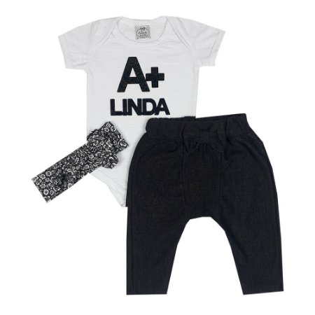 Conjunto Bebê Body A + Linda Branco + Calça Saruel Jeans Escuro + Turbante