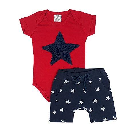 Conjunto Bebê Body Vermelho Estrela + Bermuda Saruel Estrela