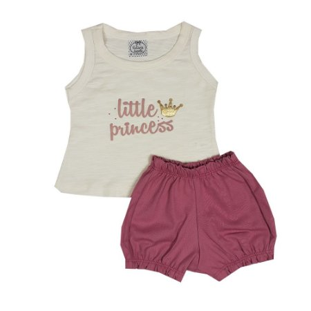Conjunto Bebê Regata Little Princess + Shorts Bombachinha