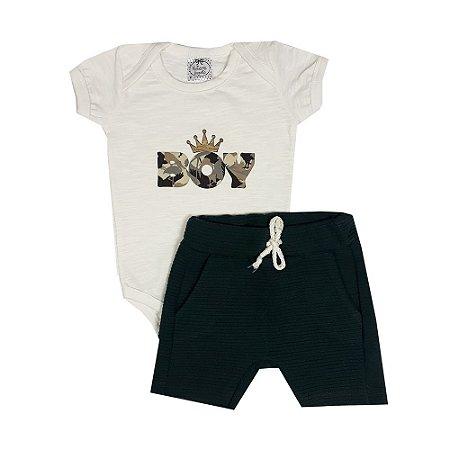 Conjunto Bebê Boy + Bermuda Saruel Verde