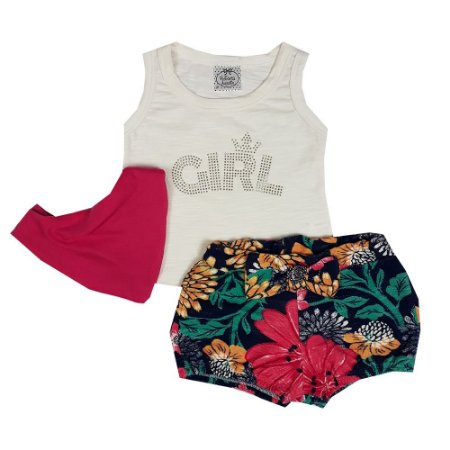 Conjunto Bebê Regata Girl + Shorts Floral + Bandana