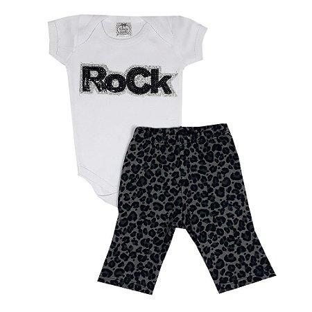 Conjunto Body Rock Branco + Calça Flare Onça