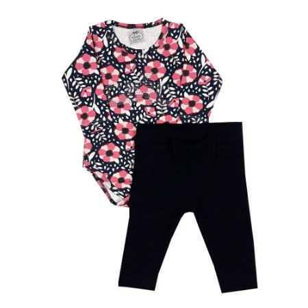 Conjunto Bebê Body Floral + Legging Preta