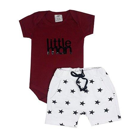 Conjunto Bebê Body Little Man + Bermuda Estrelas