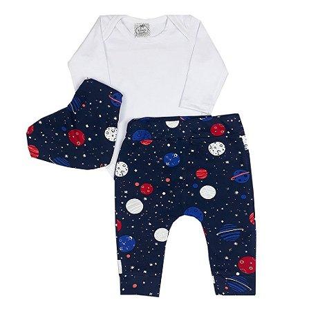 Conjunto Bebê Body Branco + Calça E Bandana Universo