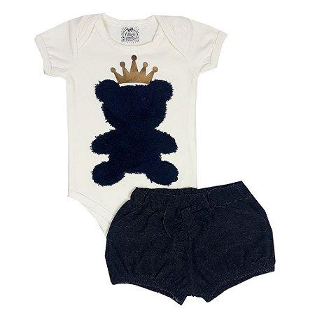 Conjunto Bebê Body Urso + Shorts Bombachinha Jeans