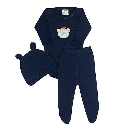 Conjunto Bebê Body + Calça + Touca Azul Marinho