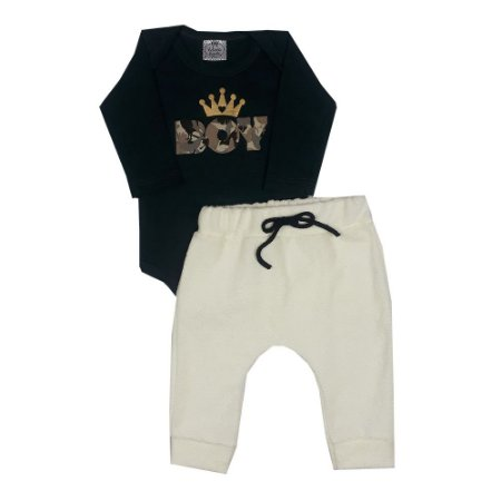 Conjunto Bebê Boy Verde Escuro + Calça Saruel Amarela