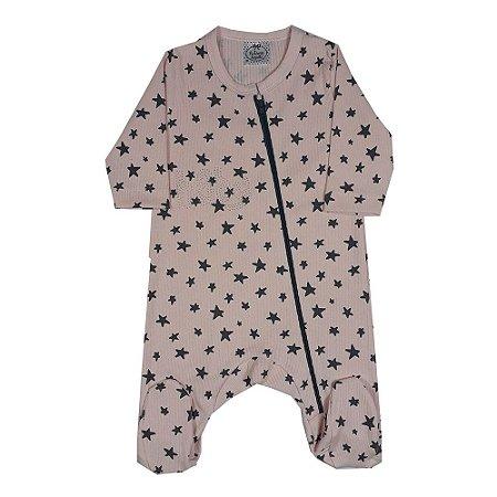 Macacão Bebê Estrelas Rosa