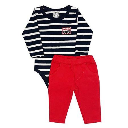 Conjunto Bebê Listrado Com Calça Vermelha