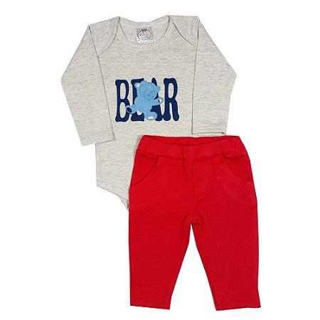 Conjunto Bebê Bear + Calça Vermelha