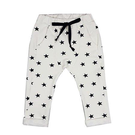 Calça Infantil Saruel Estrelas Off White