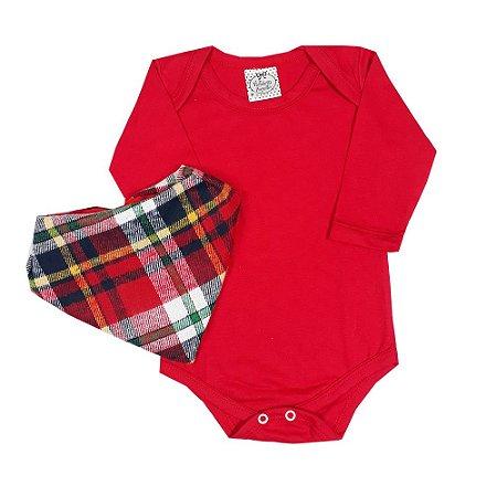 Body Bebê Vermelho + Bandana Xadrez
