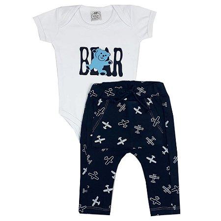 Conjunto Bebê Bear Com Calça Avião