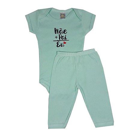 Conjunto Bebê  Mãe + Pai Verde