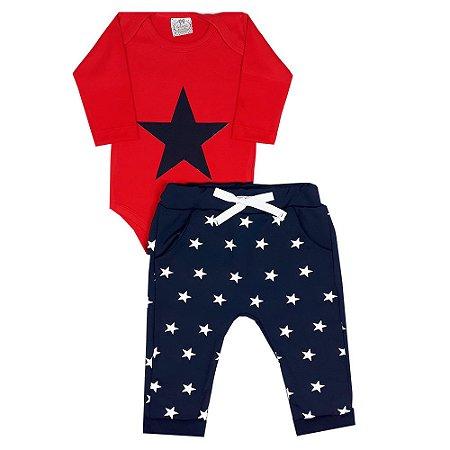Conjunto Bebê Body Vermelho Estrela Marinho