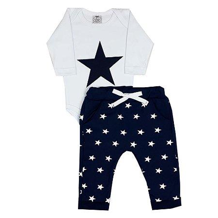 Conjunto Bebê Estrelas Marinho