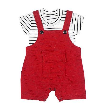 Jardineira Bebê Vermelha + Camiseta Listrada
