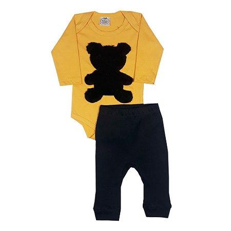 Conjunto Bebê Urso Amarelo + Calça Preta