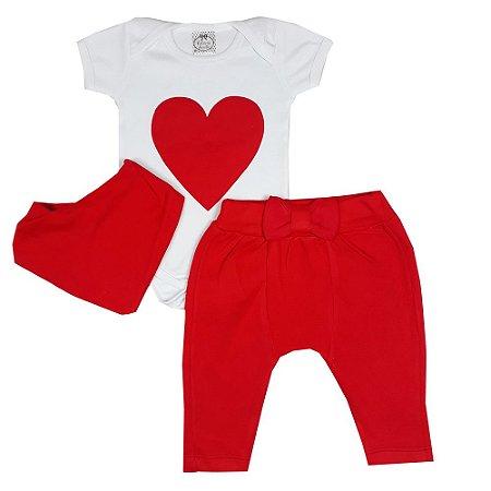 Conjunto Bebê Coração Vermelho + Bandana