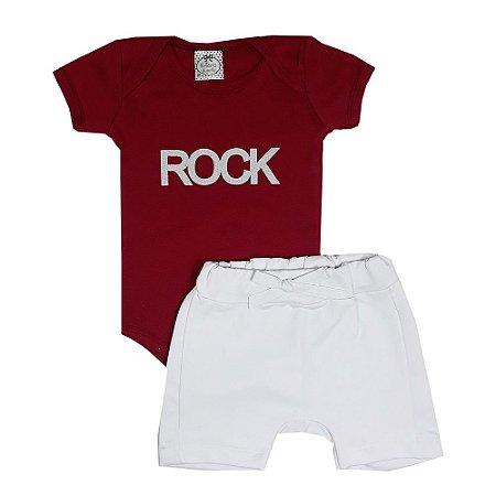 Conjunto Bebê Body Rock Vermelho + Bermuda Saruel Branca
