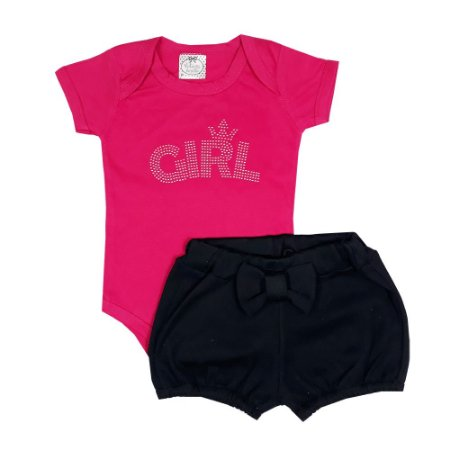 Conjunto Bebê Body Girl + Shorts Bombachinha Preto