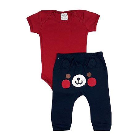 Conjunto Bebê Body Vermelho + Calça Com Aplique No Bumbum