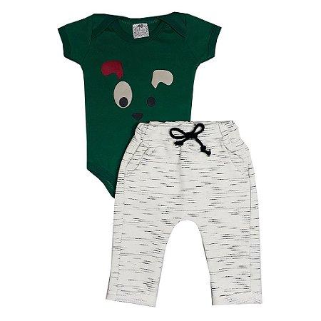 Conjunto Bebê Body Dog Verde + Calça Saruel