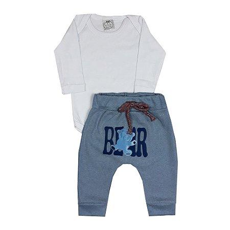 Conjunto Bebê Body Branco + Calça Saruel Bear